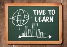 Tid som lär text och diagram på svart tavla Arkivfoto