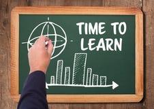 Tid som lär text och diagram på svart tavla Arkivbild