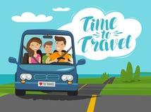Tid som reser, begrepp Den lyckliga familjen rider bilen på resa den främmande tecknad filmkatten flyr illustrationtakvektorn vektor illustrationer