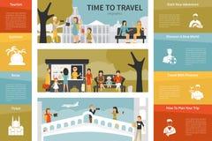 Tid som reser den infographic plana vektorillustrationen presentationen för begreppet för bakgrund 3d isolerade framförde illustr Royaltyfria Foton