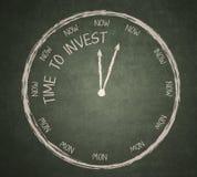 Tid som ska investeras på svart tavla Arkivbild