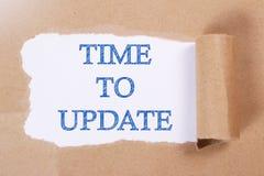 Tid som ska uppdateras, uttrycker den Motivational affären, citationsteckenbegrepp royaltyfria foton