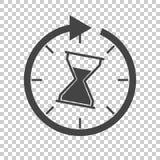 Tid symbol Plan vektorillustration med timglas på isolerat b stock illustrationer