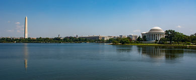 The tidal basin of the national Mall in Washington DC. The Washington Monument and the Thomas Jefferson Memorial as seen from the tidal basin of the national stock photos