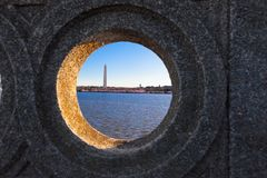 Tidal Basin with the Washington Monument as viewed through the Hole of the Inlet Bridge on Ohio Drive, Washington DC. Tidal Basin with the Washington Monument royalty free stock images
