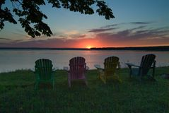 Tidal Bore colorful chairs royalty free stock photos
