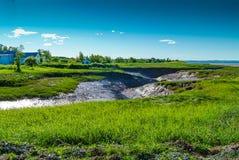 Tidal Bore streambed. Dry streambed awaiting Tidal Bore, Novia Scotia, Canada stock photography