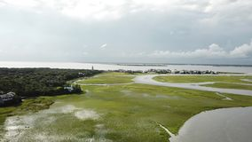 North Carolina Tidal Creek Marsh BHI Bald Head Island Marina stock video