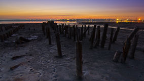 Tidal defences at dusk Royalty Free Stock Image