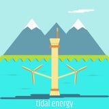 Tidal energy. Flat design Stock Images