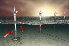Tidal energy illustration. Tidal energy concept , 3D illustration royalty free illustration