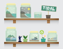 Tidal energy in jar. On the shelve Stock Image