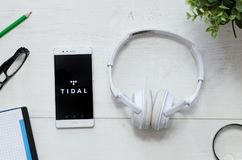 Tidal is a music service that offers legal streaming music. WROCLAW, POLAND - MARCH 29, 2018: Tidal is a music service that offers legal streaming music royalty free stock photo