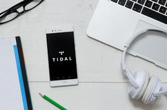 Tidal is a music service that offers legal streaming music. WROCLAW, POLAND - MARCH 29, 2018: Tidal is a music service that offers legal streaming music royalty free stock image