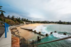 Tidal Pools at Coogee Beach, Sydney, Australia. Coogee Beach, Sydney, Australia - September 24, 2018: Tidal pools at the end of Bondi to Coogee coastal walking stock image