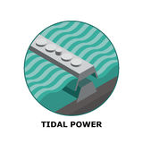 Tidal Power, Renewable Energy Sources - Part 6. Isometric illustration of a tidal energy generator. Works in small size vector illustration