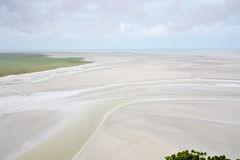 Tidal sea bottom from Mont Saint-Michel Royalty Free Stock Photo