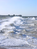 Tidal Surge. In Southern England produces stormy seas which cannot be held back by sea defences Stock Photos