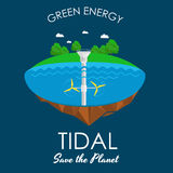 Tidal turbines power plant and factory. Green aqua energy industrial concept vector Illustration in flat style. Water Royalty Free Stock Images