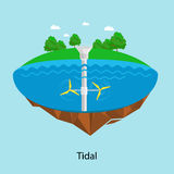 Tidal turbines power plant and factory. Green aqua energy industrial concept vector Illustration in flat style. Water Stock Photos