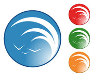 Tidal Wave Logo. A circle with a tidal wave and birds in the sky are enclosed in a circle. Choose from 4 different colors Royalty Free Stock Image