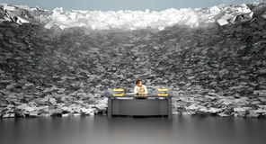 Tidal wave of paperwork. Man about to be swamped with stack of papers Royalty Free Stock Image