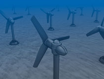Tidal wave turbines on the bottom of the sea. Background Stock Photography