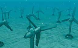 Tidal wave turbines on the bottom of the sea. Royalty Free Stock Photography