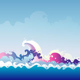 Tidal Wave vector graphic illustration Royalty Free Stock Photo