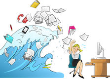 Tidal wave of work - woman version Royalty Free Stock Photos
