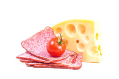 Tidbit solid Dutch cheese with sausage Royalty Free Stock Images