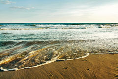 Tide on the beach. On Black Sea royalty free stock image