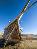 Tide. Boat during low tide in Sur, Oman Stock Photos