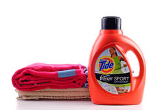 Tide Concentrated Laundry Detergent. Tide Concentrated Laundry Sports Detergent With Febreze Stock Photos
