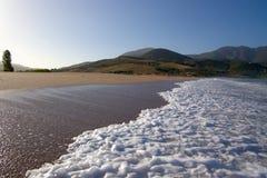 Tide foam on sandy beach Royalty Free Stock Photo