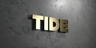 Tide - Gold sign mounted on glossy marble wall  - 3D rendered royalty free stock illustration Royalty Free Stock Photos