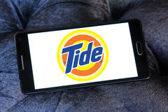 Tide laundry detergent logo. Logo of tide laundry detergent or washing powder on samsung mobile Stock Photos