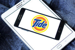 Tide laundry detergent logo. Logo of tide laundry detergent or washing powder on samsung mobile on samsung tablet Stock Image