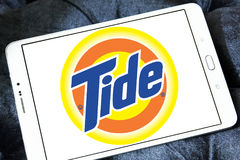 Tide laundry detergent logo. Logo of tide laundry detergent or washing powder on samsung tablet Stock Image