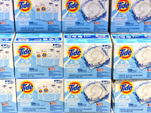 Tide loundry products in Costco. MONTREAL, CANADA - AUGUST 25, 2017 : Tide loundry products in Costco. Tide, Alo, Vizir or Ace in some countries is a laundry royalty free stock image