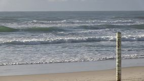 Tide marker at Elston`s beach, aka `Surfer`s Paradise, Australian Gold Coast.. stock video footage