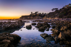 Tide pools at sunset, at Little Corona Beach royalty free stock images