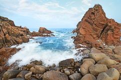 Tide after storm, Sea of Japan, rock shore Royalty Free Stock Photo