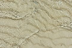 Tide. A thin layer of clear water on the sand. Royalty Free Stock Photo