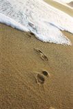 Tide Washing Over a Foot Print Covered Beach Stock Image