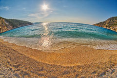 Tide & Wave at Sunset Myrtos Beach in Kefalonia, Greece Stock Images