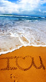 Tides Of Love. Tidal Romance With A Message Of Love Written In The Sand Stock Image