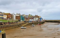 Tides out, in Bridlington Harbour, in Easter 2019. royalty free stock photo