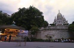 Tidig afton på funfairen av Sacre Coeur Montmartre Royaltyfri Bild