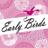 Tidig fågel Sale Logo Pink Ornate Fotografering för Bildbyråer